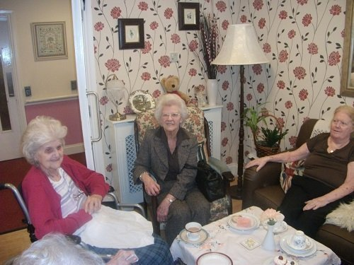 Alexandra House residents relax with tea
