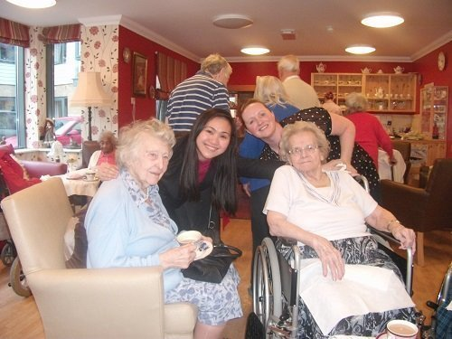 Residents and staff enjoy the tea room
