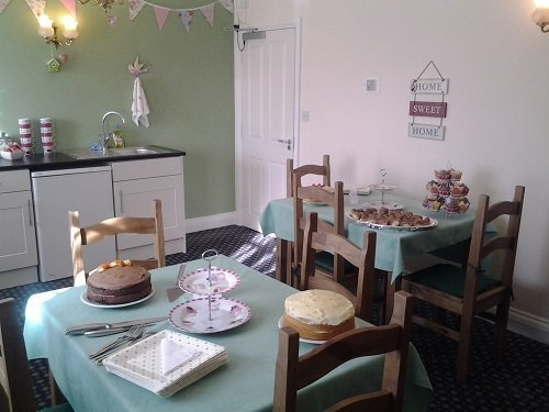 Delicious cakes in our themed tea room