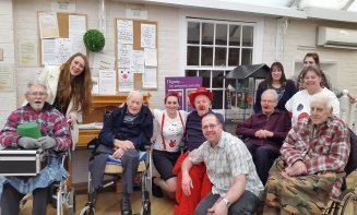 Residents, their families and carers take part in red nose day