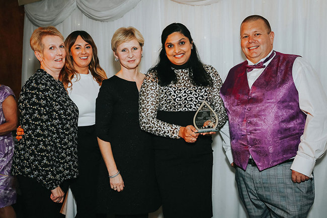 Jimitha Jacob, Home Manager, Claire Carlow, Care Team Leader, Renata, Care Team Leader and Leeanne Craddock, Wellbeing Lead