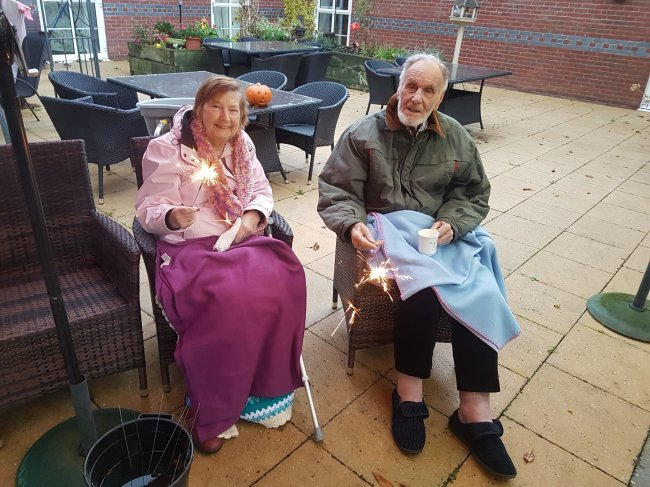 Windmill House residents get cosy for Bonfire Night.
