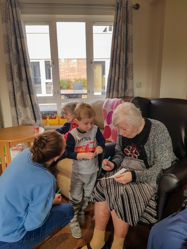 Lower Meadow residents enjoy a special visit from local playgroup.