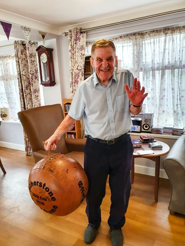 Residents at Bracebridge Court get engaged in Atherstone Ball Game.