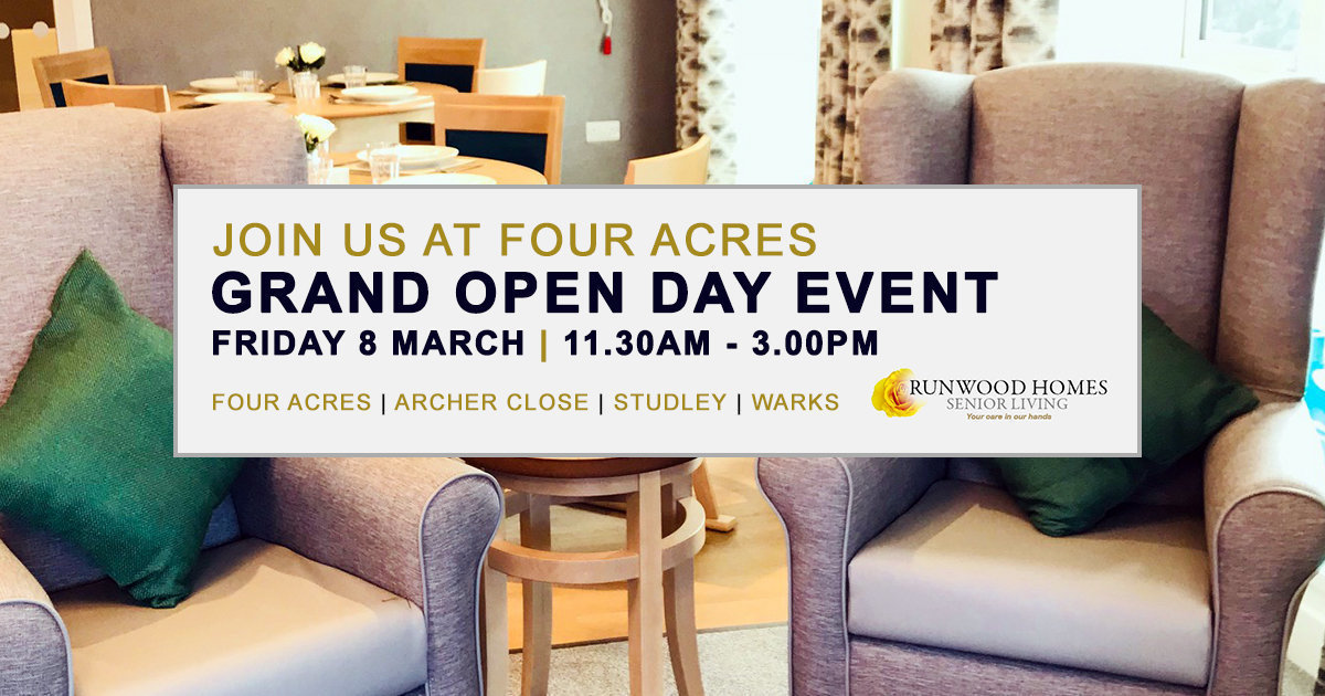 Four Acres Senior Living Grand Open Day on Friday 8 March - Please join us!
