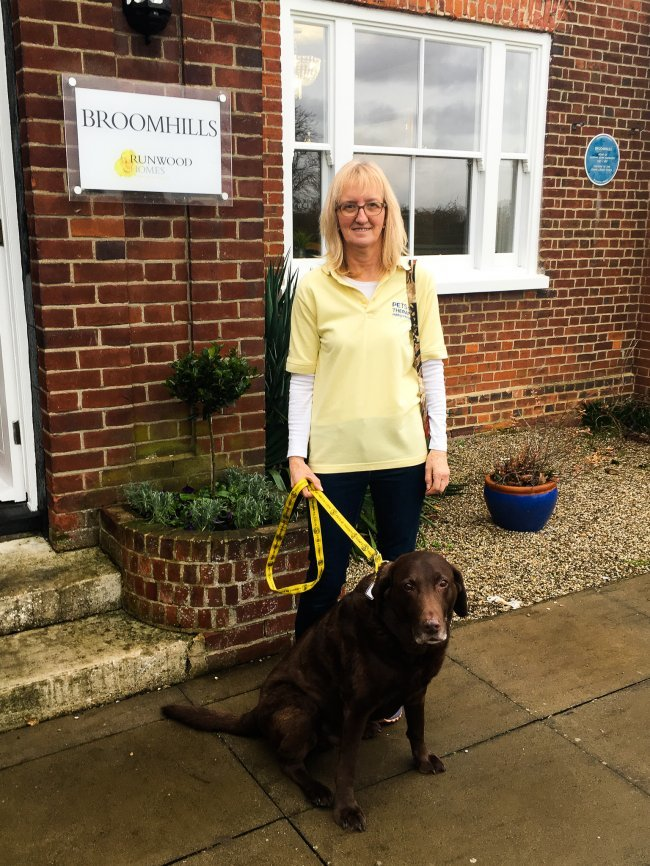 Broomhills care home welcomed Buddy the Labrador and his carer from Pets As Therapy.