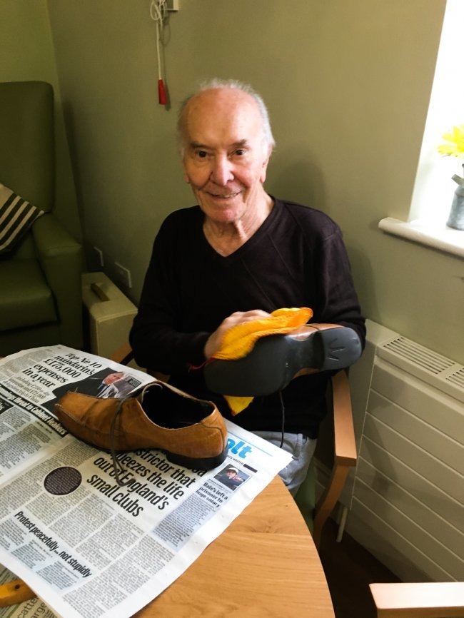 Broomhills gentleman's club get involved in shoe polishing together