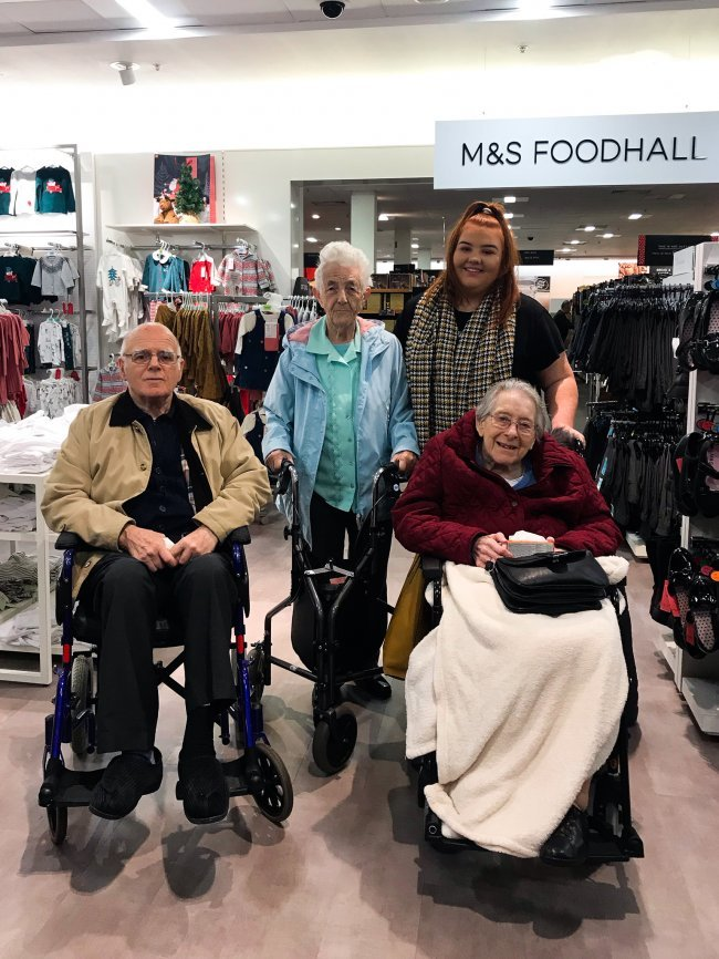 Rose Court residents take day out in Ballymena for Christmas shopping trip.
