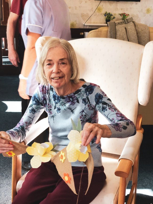 Residents at Rowena House in Doncaster get involved in community project by making beautiful bunting