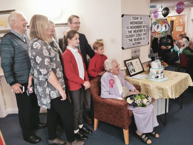 Ruth, resident at Victoria House in Watford, celebrates her 100th birthday.
