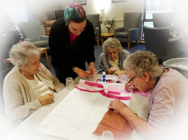 Residents at Westwood care home in Nottinghamshire get festive with Christmas crafts.