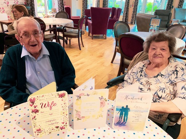 Staff at Caldwell Grange care home host wonderful anniversary for two residents.
