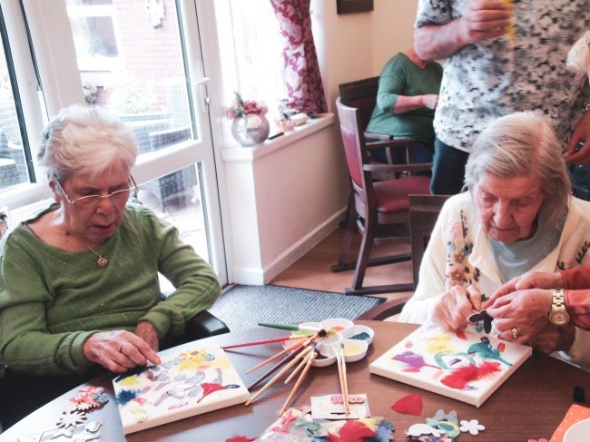Residents at Orchard Blythe in Coleshill, Warwickshire, keep active with stained glass paintings, arts and crafts and even try a bit of dancing.