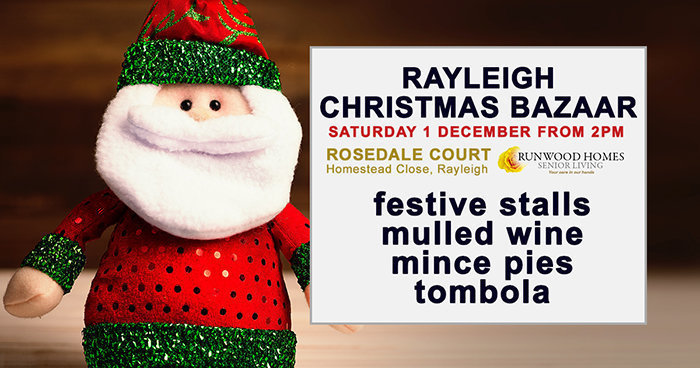 Rayleigh Christmas Bazaar at Rosedale Court on Saturday 1 December from 2pm