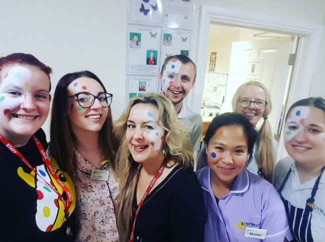 Staff and residents at Windmill House celebrate Children in Need with pyjama party.