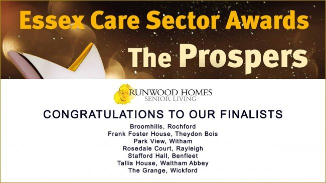 Nine Runwood Homes' in the running to receive Essex Care Sector Awards