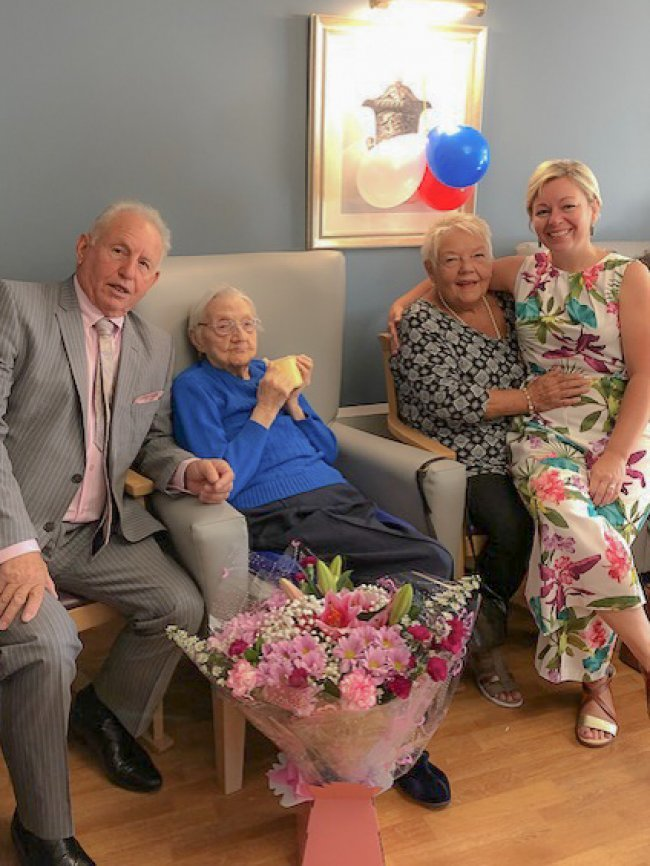 Resident Connie Bushall celebrates her 14 year anniversary living at The Grange