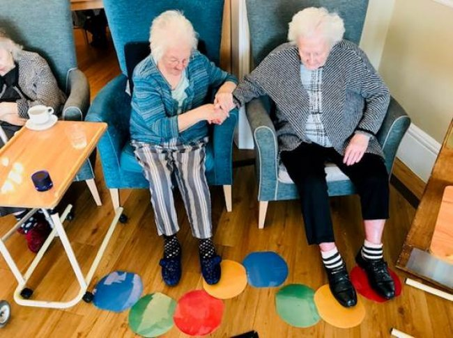 Crowstone House staff create fun, sensory 'dot-to-dot' game for residents.