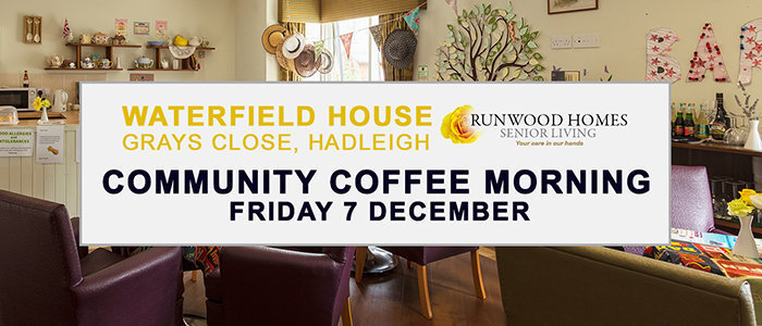 Waterfield House Community Coffee Morning on 7 December. Please join us.
